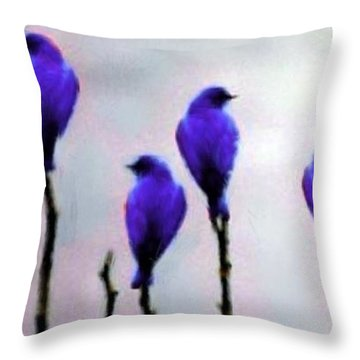 Seven Birds Of Purple Throw Pillow by Bruce Nutting