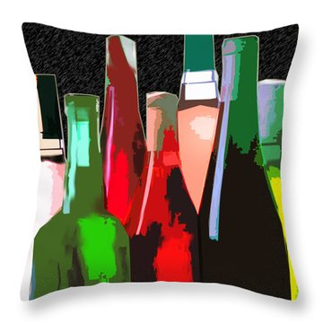 Seven Bottles Of Wine On The Wall Throw Pillow by Elaine Plesser