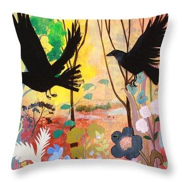 Seven Circling Crows Throw Pillow by Robin Maria Pedrero