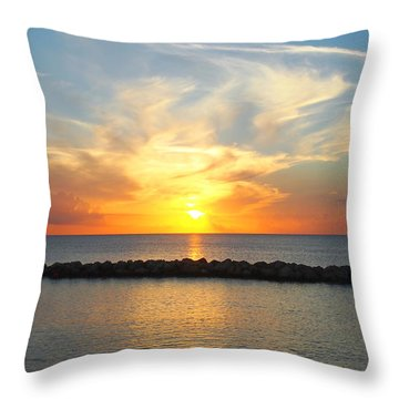 Throw Pillow featuring the photograph Seven Mile Sunset Over Grand Cayman by Amy McDaniel