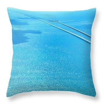 Seven Miles Bridge Florida Keys Fl Usa Throw Pillow