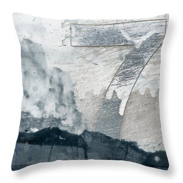 Seven On Blue Throw Pillow by Carol Leigh