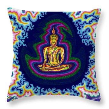 Seventh Heaven Buddha Throw Pillow by Robert SORENSEN