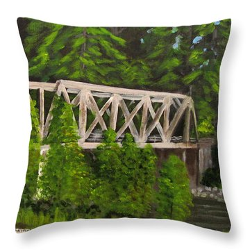 Sewalls Falls Bridge Throw Pillow