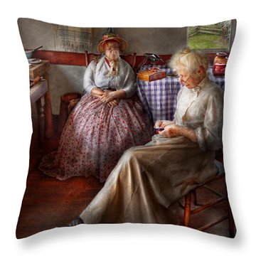 Sewing - I Can Watch Her Sew For Hours Throw Pillow by Mike Savad