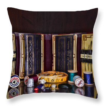 Sewing Kit Throw Pillow by Paul Ward