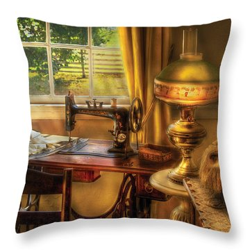 Sewing Machine - Domestic Sewing Machine Throw Pillow by Mike Savad
