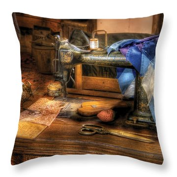 Sewing Machine  - Sewing Machine IIi Throw Pillow by Mike Savad