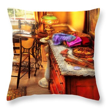 Sewing Machine  - The Sewing Room Throw Pillow by Mike Savad