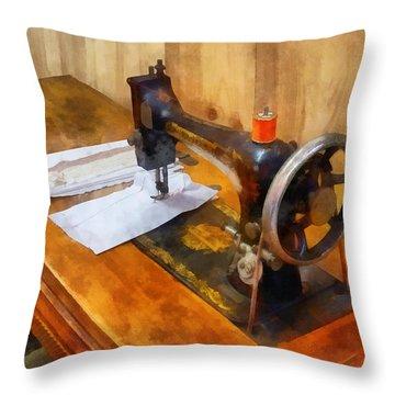 Sewing Machine With Orange Thread Throw Pillow by Susan Savad