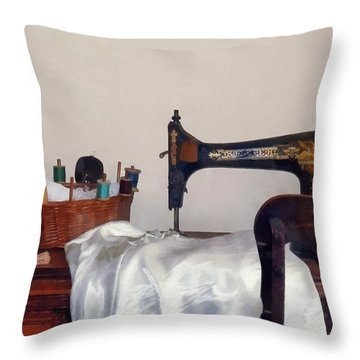Sewing Room Throw Pillow by Susan Savad