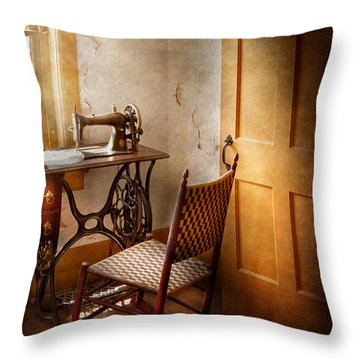 Sewing - She Used To Love This Machine Throw Pillow by Mike Savad