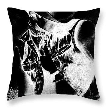 Print With Black And White Sexy Cowboy  Throw Pillow