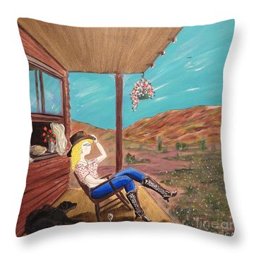 Sexy Cowgirl Sitting On A Chair At High Noon Throw Pillow by John Lyes