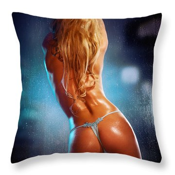 Sexy Half Naked Woman Leaning Against  A Wet Window At Night Throw Pillow by Oleksiy Maksymenko