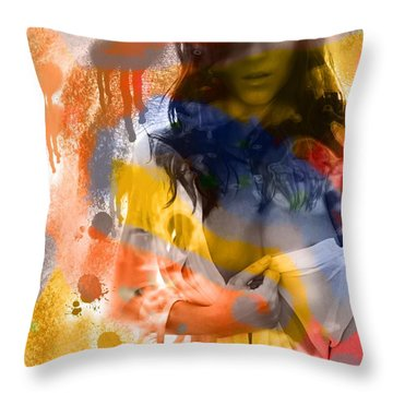 Throw Pillow featuring the digital art Sexy Spatters by Diana Riukas