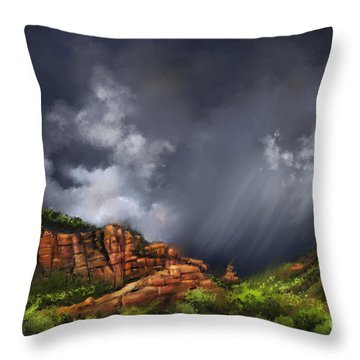 Thunderstorm In Sedona Throw Pillow