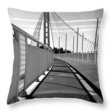 Sf Bay Bridge Pedestrian Path In Bw Throw Pillow