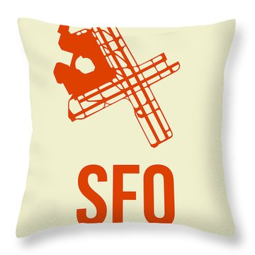 Sfo San Francisco Airport Poster 1 Throw Pillow by Naxart Studio