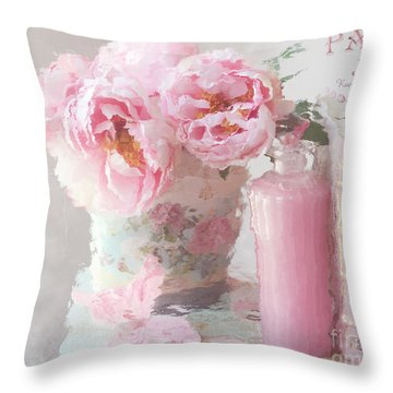 Shabby Chic Cottage Pink Parisian Peonies - Romantic French Impressionistic Pink Peonies Throw Pillow