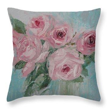 Shabby Chic Pink Roses Oil Palette Knife Painting Throw Pillow