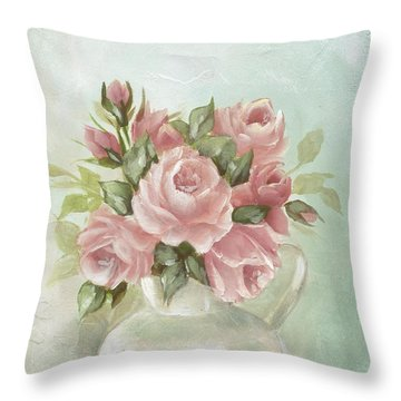 Shabby Chic Pink Roses Painting On Aqua Background Throw Pillow