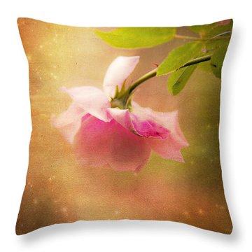 Shabby Chic Rose Print Throw Pillow by Theresa Tahara