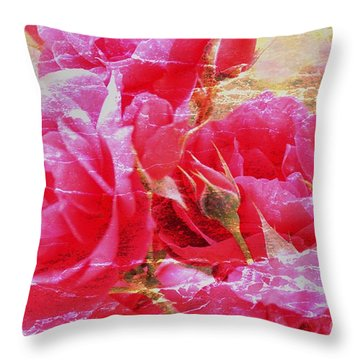 Shabby Chic Roses Throw Pillow by Erica Hanel