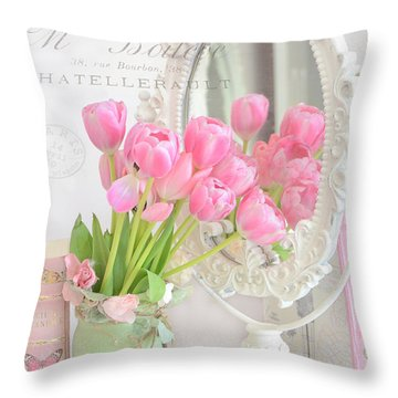 Shabby Chic Tulips Reflection In Mirror - Dreamy Romantic Cottage Pink Tulips Floral Art Throw Pillow