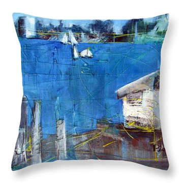 Shack On The Bay Throw Pillow by Betty Pieper