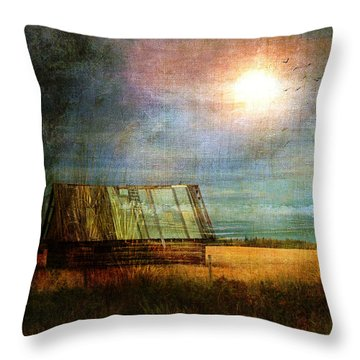 Throw Pillow featuring the photograph Shack On The Prairie Corner  by Sandra Foster