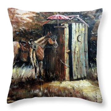 Shade For My Horse Throw Pillow by Lee Piper