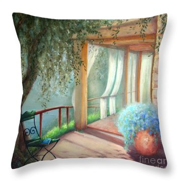 Shade Of The Olive Tree Throw Pillow