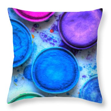 Shades Of Blue Watercolor Throw Pillow by Heidi Smith