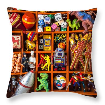 Shadow Box Full Of Toys Throw Pillow by Garry Gay