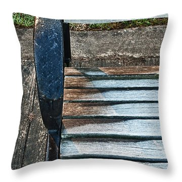 Throw Pillow featuring the photograph Shadow Protecting Frost On Bench by Gary Slawsky