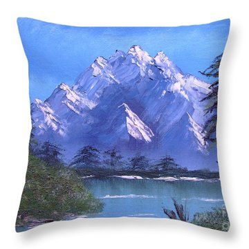 Shadowed Mountain Lake Throw Pillow