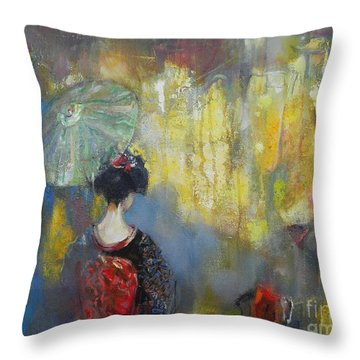 Shadows And Lights In Kyoto  Throw Pillow