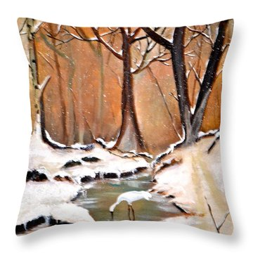 Shadows Beyond Winter Throw Pillow