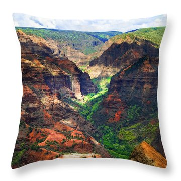 Shadows Of Waimea Canyon Throw Pillow