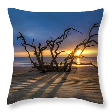 Shadows On The Sand Throw Pillow by Debra and Dave Vanderlaan