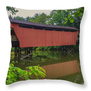 Shaeffer Or Campbell Covered Bridge Throw Pillow by Jack R Perry