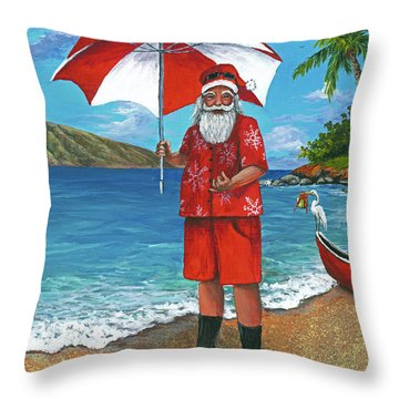 Throw Pillow featuring the painting Shaka Santa by Darice Machel McGuire