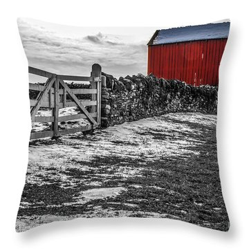 Shakertown Red Barn - Sc Throw Pillow by Mary Carol Story