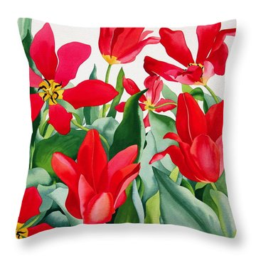 Shakespeare Tulips Throw Pillow by Christopher Ryland