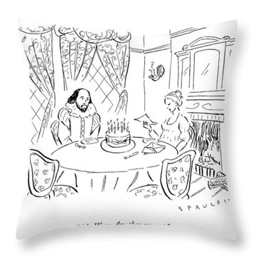 Shakespeare's Unimpressed Wife Reads A Piece Throw Pillow