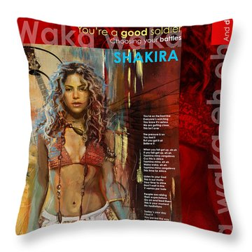 Shakira Art Poster Throw Pillow by Corporate Art Task Force