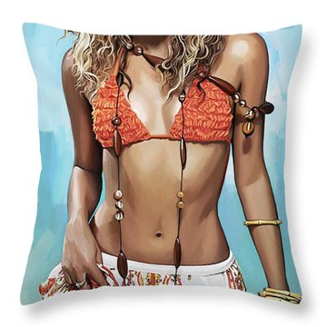 Shakira Artwork Throw Pillow by Sheraz A