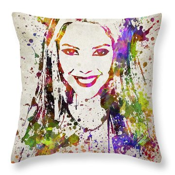 Shakira In Color Throw Pillow by Aged Pixel