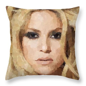 Shakira Portrait Throw Pillow by Samuel Majcen